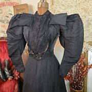 Antique Victorian 1890s Huge Mutton Puff Sleeves Black Bodice Blouse Top 🦇🦇🦇