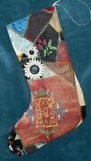 Awesome Antique Vintage Crazy Quilt Christmas Stocking Cutter Quilt Cq91