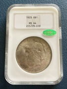 1925 Ngc Cac Ms-64 Peace Dollar 1, Old Slab, Nice Coin