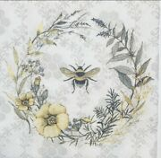 Two Individual Paper Luncheon Decoupage Napkins Bee Wreath Wildflower Farmhouse