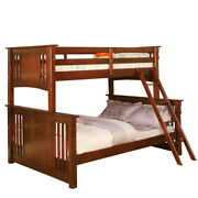 Saltoro Sherpi Wooden Twin Over Full Bunk Bed With Angled Ladder, Brown