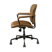 Tufted Leatherette Metal Swivel Executive Chair With Curved Wooden Armrest