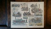 1870and039s Original Coloured Antique Engraving - Locomotives Traction-engines Etc