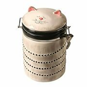 Art And Artifact Ceramic Cat Treat Cookie Jar - Sealable Kitchen Canister