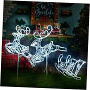 Light Up Christmas Double Reindeer And Sleigh Lawn Ornament Waterproof White