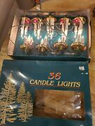 36 Vintage Christmas Tree Clip On Candle Lights With Box