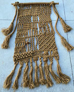 Large Vintage Macrame Wall Hanging Woven Jute Tapestry 24 By 54