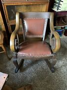 Empire Antique Rocker Rocking Oak Chair With Original Leather Seat And Back