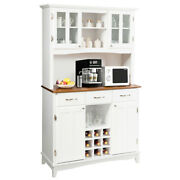 Costway Buffet And Hutch Kitchen Storage Cabinet Cupboard W/ Wine Rack And Drawers