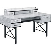 Computer Desk With 5 Drawers And Grains, Antique White And Black, Saltoro Sherpi