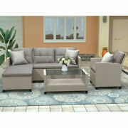 4pcs Patio Conversation Set Wicker Ratten Sectional Sofa With Seat Cushions