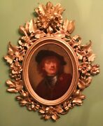 Antique Old Master Oil Attributed To/follower Of Rembrandt Carved Wood Frame