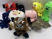 Mojang Minecraft Plush Collection Stuffed Toys Baby Ocelot Sheep Pixel Lot Of 9