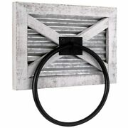 Autumn Alley White Rustic Farmhouse Barn Door Wood And Metal Towel Ring