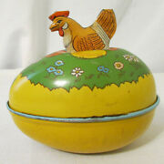 Vintage J Chein Lithograph Tin Easter Egg Candy Container With Chicken On Top