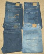Lot Of 4 American Eagle Super Stretch Hi-rise Jegging Jeans Womenand039s Sz. 12
