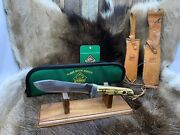 Pre 1964 6377 White Hunter Knife Stag Handles Leather Sheath Pouch A1