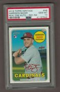 2018 Topps Heritage Rookie Red Auto /69 Hb Harrison Bader Psa 10