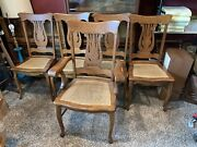 Antique Oak 4 Original Larkin Dining Chairs With +1 Arm Chair Excellent Cond