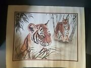 1986 Tiger By Jacquie Marie Vaux Unframed Print