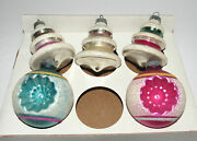 5 Vintage Shiny Brite Ornaments Striped Mica Double Indent Bee Hive Ufo