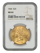 1904 20 Ngc Ms64 - Liberty Double Eagle - Gold Coin - Great Type Coin