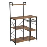 Saltoro Sherpi Wooden Utility Storage With 5 Shelves And Wire Basket, Brown And