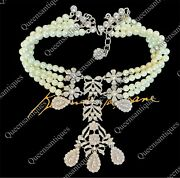 Vintage Kenneth Jay Lane Crystal And Pearl Filigree Bow Necklace Marked
