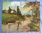 Vintage Lithograph Print Copr. A. Fox 1952 Spring Countryside Signed