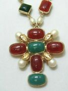 Maltese Cross Necklace Green And Rust Colored Resin And Faux Pearls