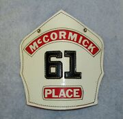 Vintage Mccormick Place Fireman's Helmet Cairns And Bro Leather Hat Badge Chicago