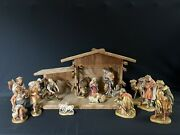5.5andrdquo Scale Lepi Wood-carved Nativity Val Gardena Italy - Anri-style