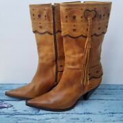 Charlie 1 Horse Mid Calf Leather Boots Size 9 Heart Cutouts, Fringe, And Scallop