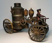 1920and039s Kingsbury Wilkins Cast Iron And Tin Windup Fire Pumper Truck W/ Driver