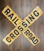Rare Antique Original Cast Iron Railroad Crossing Sign Two Piece Doublesided