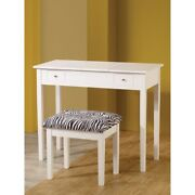 Contemporary Lift-top Vanity With Upholstered Stool 2 Piece White