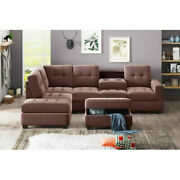 Sectional Sofa With Reversible Chaise Lounge, L-shaped W/ Couch Storage Ottoman
