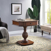 Wooden Square Top Reversible Game Table With Pedestal Base, Brown