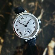 An Antique Vintage 1920s Military Rolex Swivel Lugs Wristwatch In Solid Silver