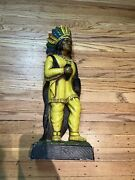 Antique 24andrdquo Bailey Chalkware Cigar Store Indian Wall Display Sign Advertising