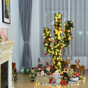 Gymax 5ft Artificial Pre-lit Cactus Christmas Tree W/ Metal Stand Ball Ornaments