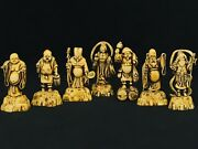 Japanese Seven Lucky Gods Figurines Celluloid Or Plastic 1900 1930 Vintage 7