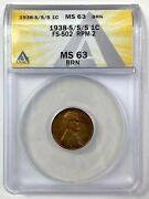 1938-s/s/s Lincoln Wheat Small Cent 1c Penny - Anacs Ms 63 Brn - Mint Error