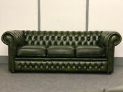 Chesterfield 3 Seater Sofa In Antique Green Leather Brand New