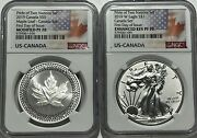 2019 Silver Canadian Modified Maple Leaf Ngc Pf70 Fdoi Pride Of Two Nations Set