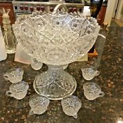 Rare Find-vintage Fostoria Rosby Pressed Glass Punch Bowl W/stand, 7 Cups, Ladle