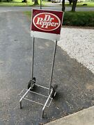 Vintage 1970andrsquos Dr Pepper Hand Truck Dolly Cart W Wheels For Cases Bottles Soda