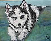 Chewie The Siberian Husky Pup Pet Painting 8x10 Canvas Original Signed Crowell