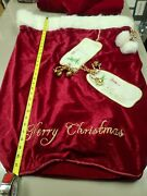 Red Velvety Christmas Santa Bag W/ Embroidery And Jingle Bells 26 W X 32 L