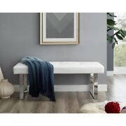 Estela Pu Leather Bench - Stainless Steel Legs   Tufted   Living-room Entryway